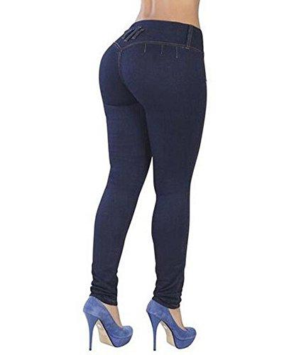 Scuro In Denim Leggings Skinny Alta Donna Elastico Jeans Blu Pantaloni Vita Zhuikun CPHtqP