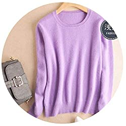 Friendshiy Autumn Winter Cashmere Cotton Blended Knitted Women Sweaters And Pullovers Jersey Large Lavender