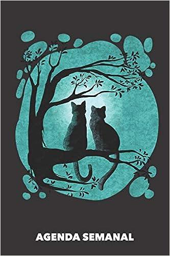 Agenda Semanal: Gatos de Luna Llena A5 manuscrito floral - Cuaderno con Planificador Semanal 52 Semanas para dueños de gatos negro: Amazon.es: Agendas Semanales, Gato: Libros
