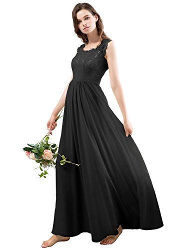 Dresstells Long Bridesmaid Dress Illusion Lace V-neck Chiffon Evening Gowns
