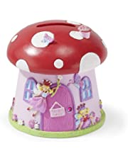 Lucy Locket Beautiful Toadstool Shaped 'Fairy House' Kids Money Box - Glittery Hand Painted Kids Piggy Bank