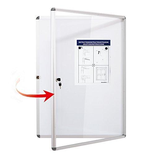 Bulletin Board Poster - SwanSea Tamperproof Poster Bulletin Boards Magnetic Dry Erase Whiteboard Lockable Noticeboard 38×28 inch (9xA4)
