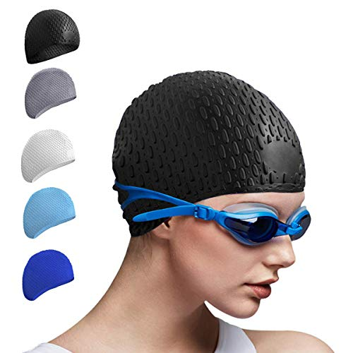 Tripsky Silicone Swim Cap,Comfortable Bathing Cap Ideal for Curly Short Medium Long Hair, Swimming Cap for Women and Men, Shower Caps Keep Hairstyle Unchanged