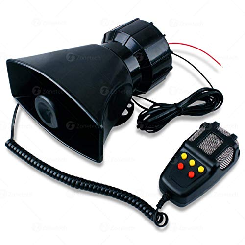 Zone Tech 5 Tone Sound Car Siren Vehicle Horn with Mic PA Speaker System Emergency Sound Amplifier - 60W Emergency Sounds Electric Horn-Hooter/Ambulance/Siren/Traffic Sound with PA Microphone System