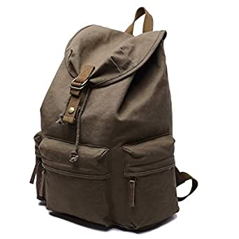 Mens Bag Canvas Backpack Shoulders Bag Cameras Bags Outdoor Sports Bag with Interior Lining & Rain Cover, Size: 50x37x15cm High capacity (Color : Army Green)