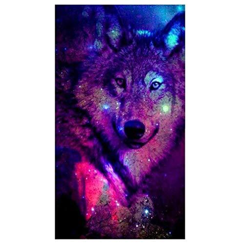Windoson Wolf 5D Diamond Painting Full Drill Home Decor DIY Diamond Painting Crystals Rhinestone Painting Needlework Cross Stitch Counted Kit 5D Embroidery Painting Wall Art Decor - Counted Needlework