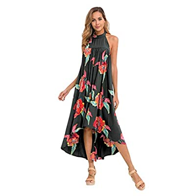 Muranba Womens Dresses Fashion Halter Backless Loose Printed Dress Beach Party Dress