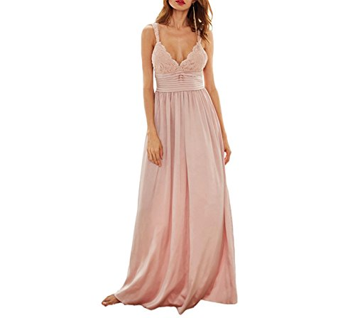 DiDi-Cut Fashion Ladies Sexy New Style Pink Triangle Lace Top Deep V Neck Pleated Waist Slip Sleeveless Maxi Dress (Pleated Slip)