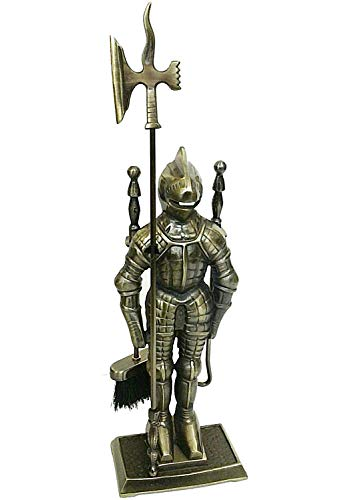 Lizh Metalwork Middle Ages Knight Cast Iron Fireplace Tool Set,Antique Brass ()
