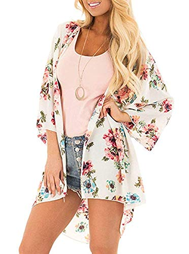 - Women's Floral Print Kimonos Loose Tops Half Sleeve Shawl Chiffon Cardigan Blouses Casual Beach Cover Ups (XX-Large, White)