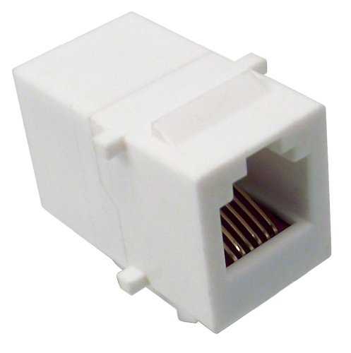 - Shaxon BM303W-IC6-B, Category 3 Keystone Modular Feed Through Coupler, RJ12-RJ12 - White
