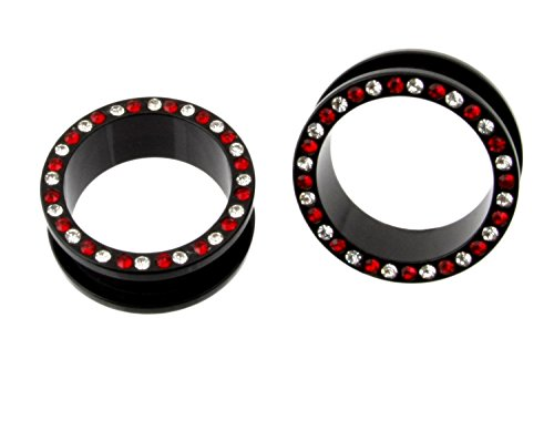 JewelryVolt AP-617 ACRYLIC SCREW BLack EAR FLESH TUNNEL WITH RED & CLEAR GEM PLUGS GAUGES (1