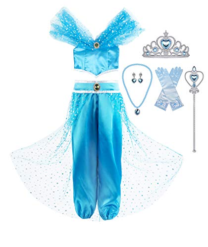 (Okidokiyo Girls Princess Jasmine Dress Up Costumes Halloween Party Dress with Accessories (2-3 Years, Blue with)