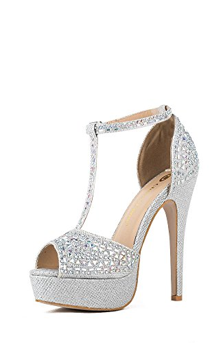 Chase and Chloe Valerie-1 Rhinestone Peep-Toe T-Strap Platform Sandal - Silver Glitter,Silver,7.5