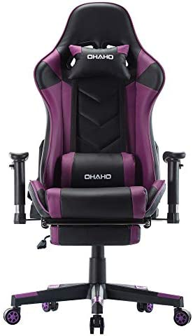 OHAHO Gaming Chair Racing Style Office Chair Adjustable Massage Lumbar Cushion Swivel Rocker Recliner Leather High Back Ergonomic Computer Desk Chair