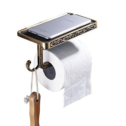 (Rozin Antique Brass Art Carved Toilet Paper Holder with Shelf Holder Function)