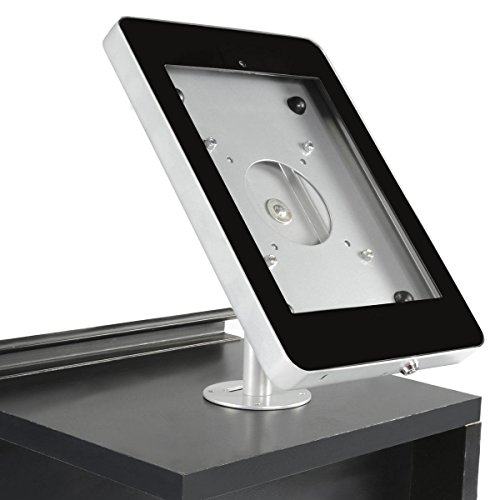 Displays2go iPad Stand, Locking Enclosure, Hidden Home Button, Rotates 360-degrees, Tablet Mount Bolts Directly to a Table, Steel (IPDCAUE5SV)