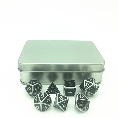 Chrome Dice (Truewon Metal Dice Set of 7 With Metal Case (Ridge Enamel Chrome Color))
