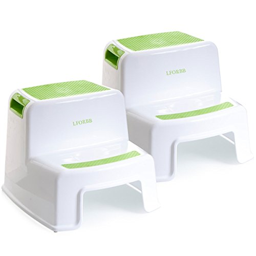 2 Step Stool for Kids - Toddler Step Stool Children Step Stool for Washstand Dual Height Stool for Potty Trainning Stepping Stool and Use in The Bathroom or Kitchen(2 Pack Green)