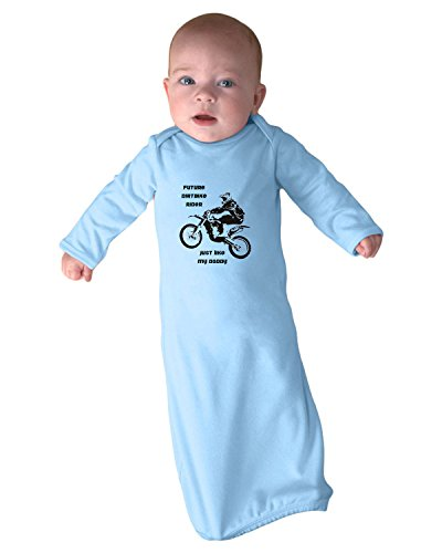 Future Dirt Bike Rider Just Like My Daddy Infant Baby Rib Layette Sleeping Gown & Hat Set Light Blue ()