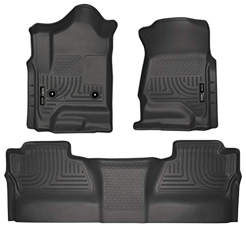 Husky Liners Fits 2014-18 Chevrolet Silverado/GMC Sierra 1500 Crew Cab, 2015-19 Chevrolet Silverado/GMC Sierra 2500/3500 Crew Cab Weatherbeater Front & 2nd Seat Floor Mats (Footwell Coverage)