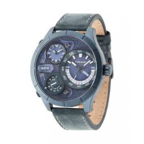 Police watch R1451254005 Bushmaster Blue Man Leather Multifunction