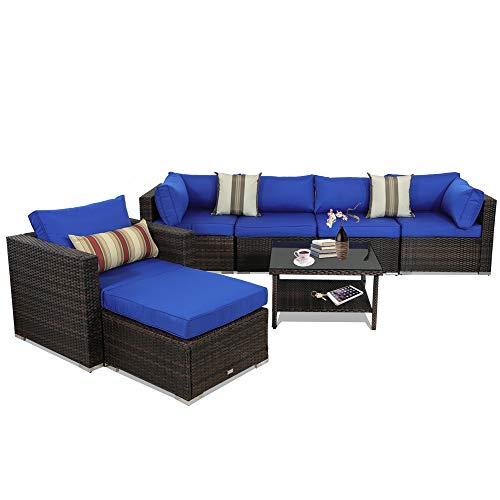 (Outime Patio Furniture Brown Rattan Sofa Wicker 7pcs Sectional Sofa Set Christmas Party Sofa Conversation Set Garden Patio Sofa Cushioned -Easy Assembled(Royal Blue Cushions,7)