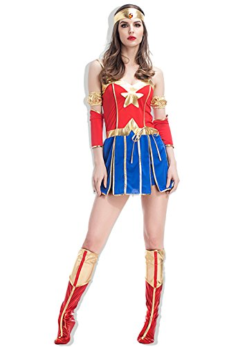 Wonder Pets Halloween Costume ([GRACES]Women's Wonder Super Hero Costume Halloween Party Costume (M, Blue Red))