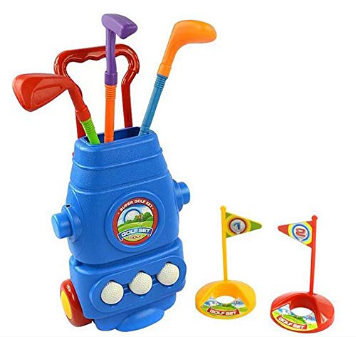 Littlefun Kids Golf Cart Set with 3 Kinds of Clubs 2 Holes 3 Balls Hand-held Tensile Handle Perfect Outdoor Play Golfer for Children