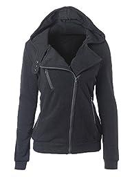 Choies Women Gray Zip Up Fleece Slim Fit Hooded Coat Warm Pocket Hoodie Jacket M