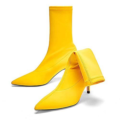 Mejor Tamaño 34 Otoño Primavera Zapatos Tacón Mujeres Botas Tejido Hoesczs Alto Las Grande Yellow 43 2018 Marca Calidad De Mujer Elástico Delgadas 0xCTtwzqO