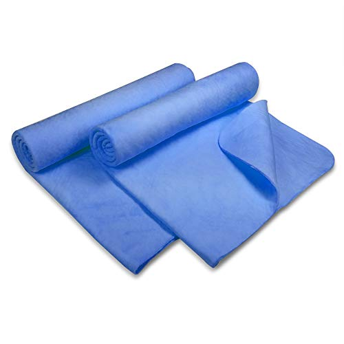 Flow Swim Towel 2-Pack - Chamois (Shammy) Quick Drying Cloth for Swimming, Diving, and Camping (Blue (13