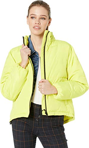 Sanctuary Women's Just Chill Cropped Puffa Jacket Acid Green Small