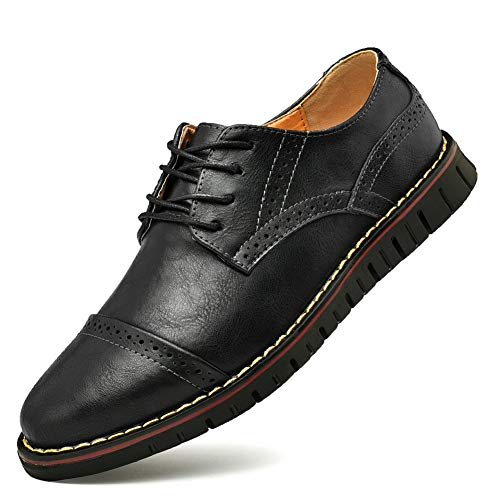 - Men`s Brogues Oxford Genuine Leather Dress Shoes Wingtip Formal Loafers Lace-up Casual Business Shoes Black