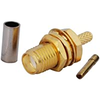 Eightwood SMA Female Bulkhead Crimp Connector Gold-plated for RG316 RG174 (pack of 10)
