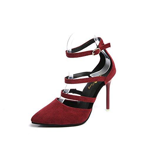 Mode Chaussures Simples cinq Trente Baotou Talons Claret ZZEWnqag