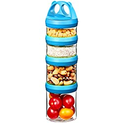 SELEWARE Portable and Stackable 4-Piece Twist Lock Panda Storage Jars to Contain Formula, Snacks, Nuts, Drinks and More, BPA and Phthalate Free, 31oz Blue
