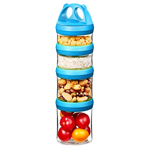 SELEWARE Portable and Stackable 4-Piece Twist Lock Panda Storage Jars Snack Container to Contain Formula, Snacks, Nuts, Drinks and More, BPA and Phthalate Free, 31oz Blue