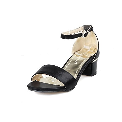 Soft WeenFashion Black Buckle Open Heels Women's Sandals Material Toe Solid Kitten xIx5q