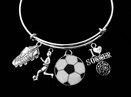 Adjustable Cleats (I Love Soccer Jewelry Girl Playing Soccer Cleats Adjustable Bracelet Silver Expandable Charm Bangle One Size Fits All Gift Personalization Custom Options)
