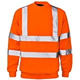Mens Long Sleeve Hi Vis Sweatshirt with Ribbed Hem Neck Adults Work Wear Top Orange Large