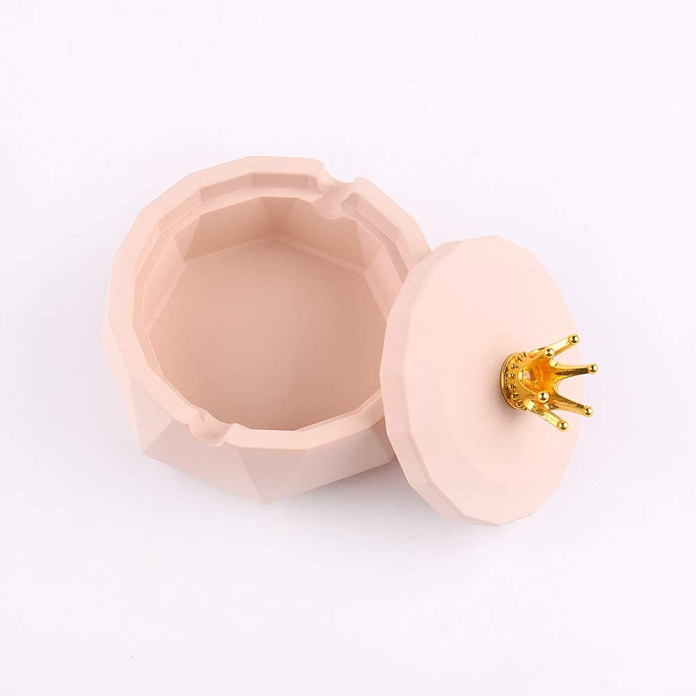 Desktop Smoking Ashtray for Home Office Decoration KEPATO Resin Ashtry with Antlers lid Ash Holder for Smokers Pink Cigartte Ashtray for Indoor or Outdoor Use,Windproof