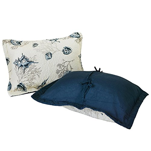 2 Quilt Floral Shams (Brandream 100% Cotton Pillow Cases Nautical Navy Blue Seashells Pillow Shams 2-Piece)
