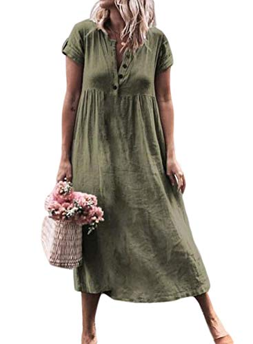 FIYOTE Women Summer Short Sleeve Button Front V-Neck Swing Dress Casual Tunic T-Shirt Beach Dresses Large Size Green