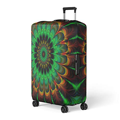 - Semtomn Luggage Cover Brown Fractal Abstract Flower in Verdigris Colors Digitally Rendered Travel Suitcase Cover Protector Baggage Case Fits 22-24 Inch