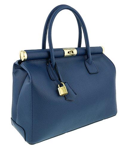 [HS Collection HS8005 BLU MINERVA Blue Satchel/Shoulder Bag] (Minerva Collection Fashion)