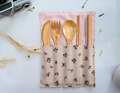Bamboo Utensils - Cutlery Set   Reusable Flatware Organizer   Plastic Free Wrapped Kit   For Gifts, Travel, Outdoor Camping, Office lunch box case   Zero Waste Wrap Holder (January Flower) ()