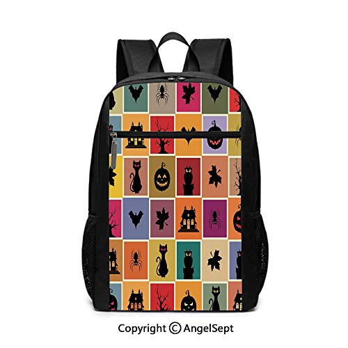Travel Backpack Laptop Backpack,Bats Cats Owls Haunted Houses