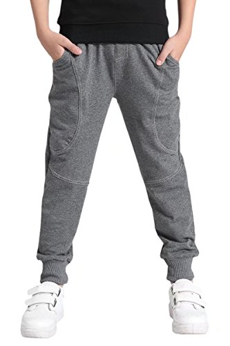 AOWKULAE Cotton Sports Sweat Jogger Pants for Big Boys Grey, Age 9T-10T (9-10 Years) = Tag 150 Boys Knit Pants