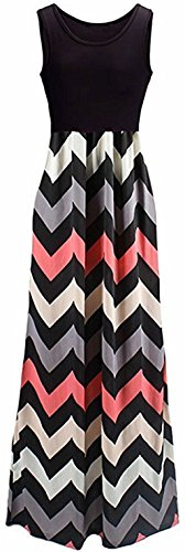 Tkiames Women's Boho Empire Chevron Tank Zig Zag Casual Sleeveless Long Beach Striped Maxi Dresses,Pink,Medium